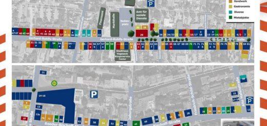 Das neue Shopping-Portal für Vegesack zeigt die hohe Dichte von Geschäften in der über einen Kilometre langen Fußgängerzone. Screenshot: WR