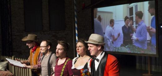 Markus Wenzel, Jens Ochlast, Pirmin Sedlmeir, Lisa Jopt und Markus Schäfer (von links) agierten live auf der Bühne sowie in skurilen Filmeinspielungen.Foto: Stephan Walzl