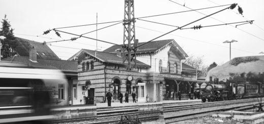 Der Achimer Bahnhof im Wandel der Zeit: Der Künstler Caspar Sessler hat seine Collagenserie mit Motiven aus Achim erweitert. Foto: Caspar Sessler