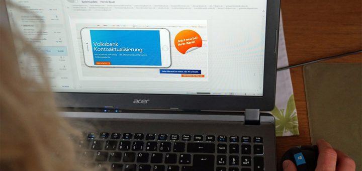 Äußerst professionell gestaltete und echt wirkende E-Mails werden zurzeit im Namen der Volksbank verschickt. Dahinter stecken jedoch Cyber-Kriminelle. Foto: Bruns