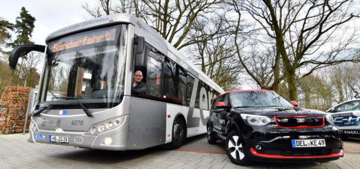 Alles elektrisch: Die BSAG stellte einen zwölf Meter langen Bus beim HWK vor. Auch das Autohaus Engelbart präsentierte verschiedene Modelle. Foto: Konczak