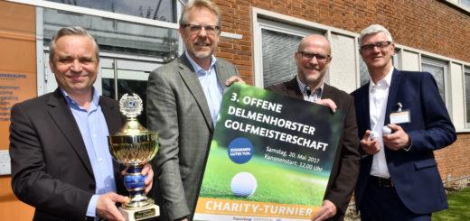 Thomas Niekau, Hans-Ulrich Salme, Thomas Schaaf und Andreas Dröder (v.l.) werben für die die bereits dritte Ausgabe des Delmenhorster Golf-Charity-Turniers am 20. Mai.Foto: Konczak