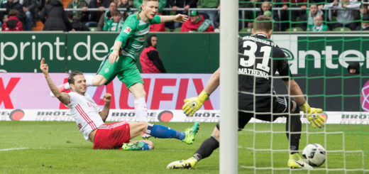 Florian Kainz trifft für Werder zum 2:1 gegen den HSV