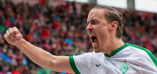 Max Kruse war in Ingolstadt der überragende Spieler. Werders Angreifer erzielte den ersten Viererpack seiner Profi-Karriere. Foto: Nordphoto
