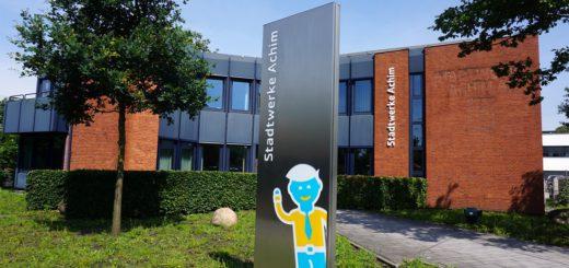 Eingangsportal der Stadtwerke Achim. Foto: Bruns/av
