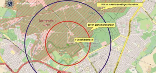 In Blumenthal hat die Evakuierung bereits begonnen. Karte: Polizei Bremen