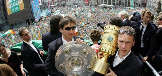 BL 03/04 - Werder Bremen - Meisterschaftsfeier Rathaus. Foto: nordphoto
