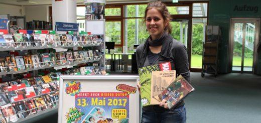 Marilies Mittelmaier von der Stadtbibliothek Vegesack freut sich auf den Gratis-Comic-Tag. Foto: Harm