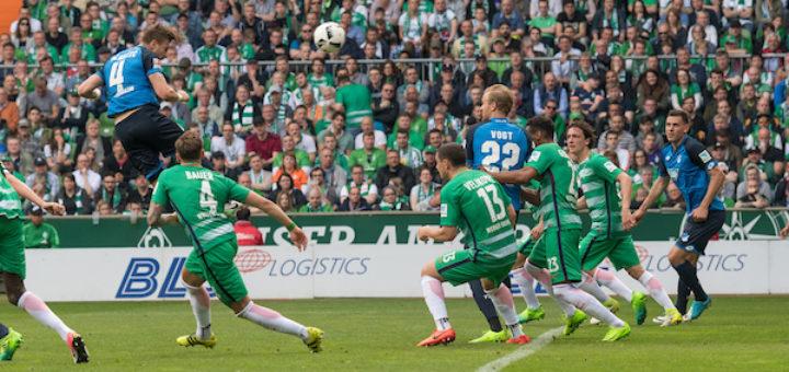 Ermin Bicakcic (l.) erzielt per Kopf das fünfte Tor für die Hoffenheimer. Foto: Nordphoto