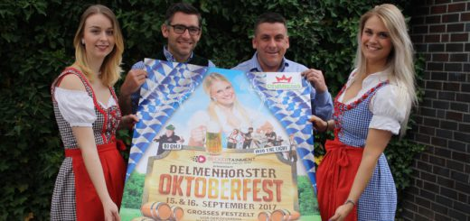 Das Team der Divarena (v.l. Julia Rustler, Christian Hohnholt, Christoph Becker und Lisa-Marie Nistler) rührt bereits die Werbetrommel für das Oktoberfest. Foto: nba