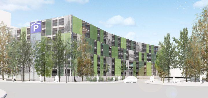 """Bei der zweiten Variante """"Paneele und Stadtbilder"""" werden die großflächigen grünen Paneele mit Stadtmotiven kombiniert, die auch ausgetauscht werden können.Grafik: SWD"""