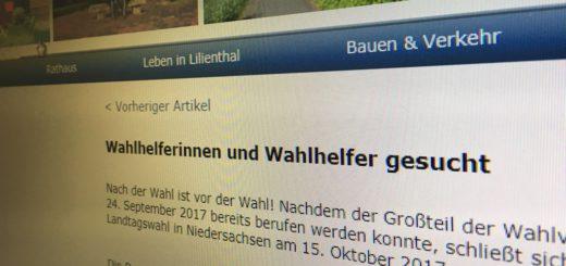 Wie beispielsweise in Lilienthal werben dieser Tage viele Kommunen auch auf ihren Internetseiten um Wahlhelfer. Foto: Bosse