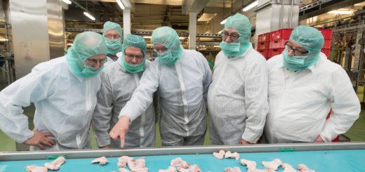 Mitglieder des Aufsichtsrats und der Geschäftsführung von Werder besuchten 2015 eine Produktionsstätte von Wiesenhof. Foto: Nordphoto
