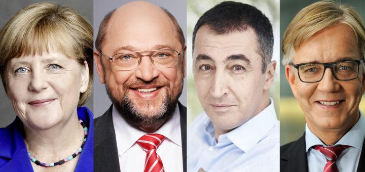 Porträts von Angela Merkel, Martin Schulz, Cem Özdemir, Dietmar Bartsch, Christian Lindner