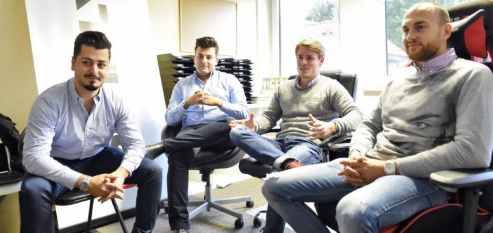 Ein Fernsehauftritt mit Folgen: Firmengründer Benjamin Gabriel, Simon Gabriel, Jan-Lucca Sielski und Geschäftsführer Christoph Eisold (von links). Foto: Schlie