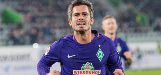 Fin Bartels bejubelt in Wolfsburg seinen ersten Saisontreffer. Foto: Nordphoto