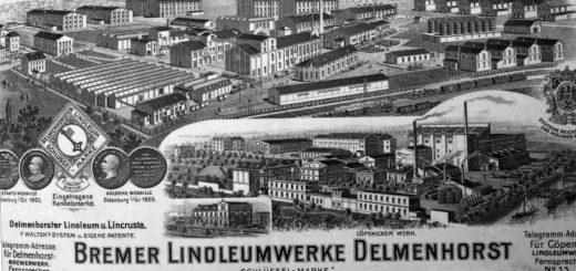 """Die Bremer Linoleum-Werke Delmenhorst (Schlüsselmarke) gingen mit der """"Hansa"""" und der """"Anker"""" bei der Fusion 1926 in den Deutschen Linoleum-Werken auf. Die Aufnahme zeigt die Delmenhorster und Cöpenicker Fabriken der """"Schlüsselmarke"""" auf einem Briefkopf von 1909.Foto: Stadtarchiv Delmenhorst"""