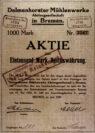 Ausschnitt einer Aktie aus dem Jahr 1920 der Delmenhorster Mühlenwerke AG.Abbildung: Stadtarchiv Delmenhorst