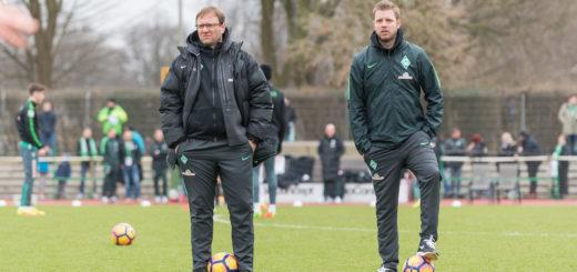 Thomas Horsch und Florian Kohfeldt auf dem Trainingsplatz.