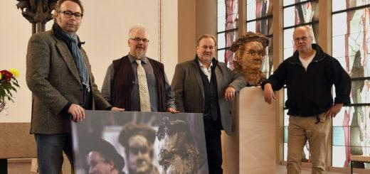 Daniel Penschuck, Thomas Meyer, Johannes Mitternacht und Harald Birck (von links) haben direkt beziehungsweise indirekt mit der Luther-Ausstellung zu tun.Foto: Konczak