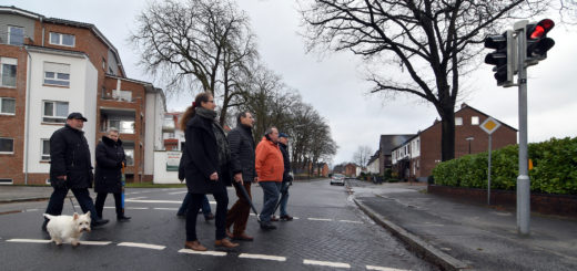 Einige Anwohner sowie Vertreter aus der Politik und Verwaltung ließen es sich nicht nehmen, die neue Ampel an der Brauenkamper Straße auszuprobieren.Foto: Konczak