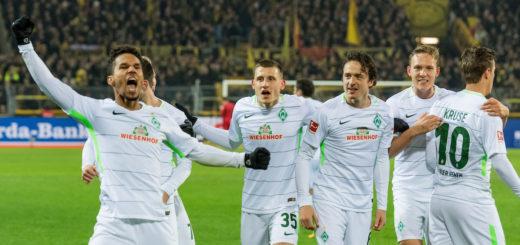 Werders Jubel nach dem Treffer zum 2:1. Foto: Nordphoto