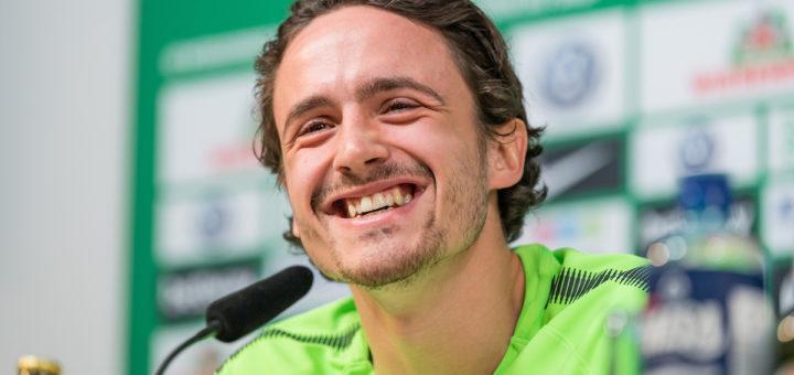 Strahlt Optimismus aus: Werders Mittelfeldspieler Thomas Delaney. Foto: Nordphoto