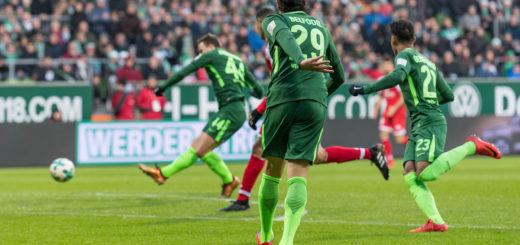 Philipp Bargfrede trifft zum 1:0 für Werder gegen Mainz. Foto: Nordphoto