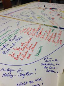 Auf großen Plakaten sammelten die Besucher des Bürgerforums ihre Ideen. Foto: Füller