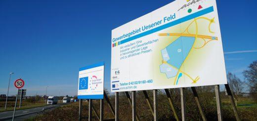 Auf dem Gelände des Gewerbeparks Uesener Feld könnte Amazon bald ein Logistikzentrum bauen. Achimer wollen wissen, welche Vor- und Nachteile das mit sich bringt. Foto: Bruns