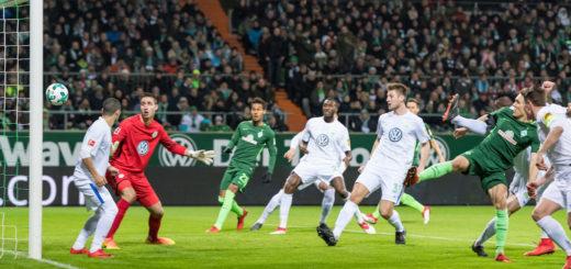 Ludwig Augustinsson erzielte bereits nach vier Spielminuten das 1:0 für Werder. Foto: Nordphoto