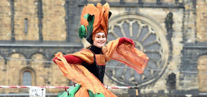 Beim Samba-Karneval tanzten die Karnevalisten in farbenfrohen Kostümen durch die City. Foto: Schlie