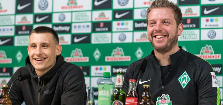 Gut gelaunt vor dem Auswärtsspiel: Maximilian Eggestein und Florian Kohfeldt. Foto: Nordphoto