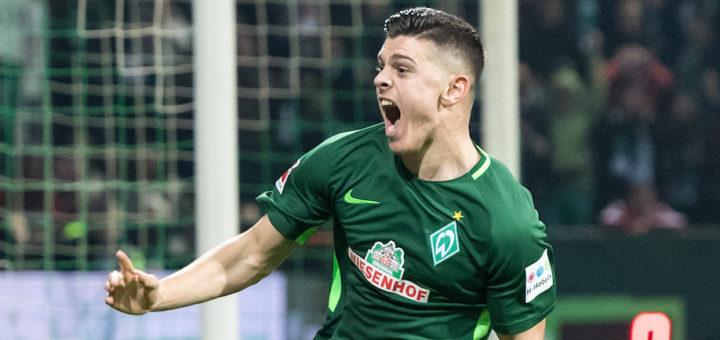 Milot Rashica gelingt bei seinem Debüt im Weser-Stadion gleich ein wichtiger Treffer für die Grün-Weißen im Kampf um den Klassenerhalt. Foto: Nordphoto
