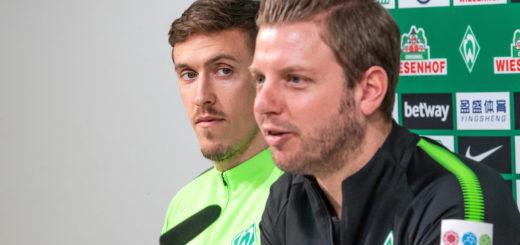 Florian Kohfeldt auf der Pressekonferenz vor dem Spiel in Hannover.