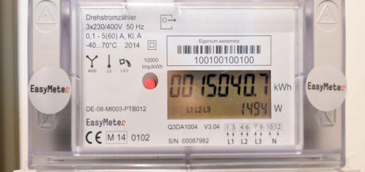 Stromzähler in Großaufnahme