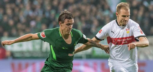 Ihre Wege werden sich am Samstag wieder kreuzen: Werders Max Kruse (links) und Stuttgarts Holger Badstuber Foto: Nordphoto