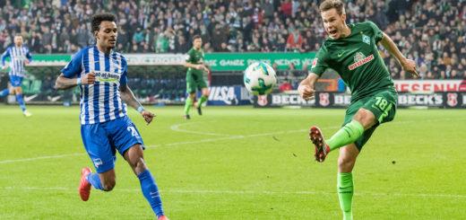 Sorgt hinten für Sicherheit: Werders Niklas Miosander (rechts) Foto: Nordphoto
