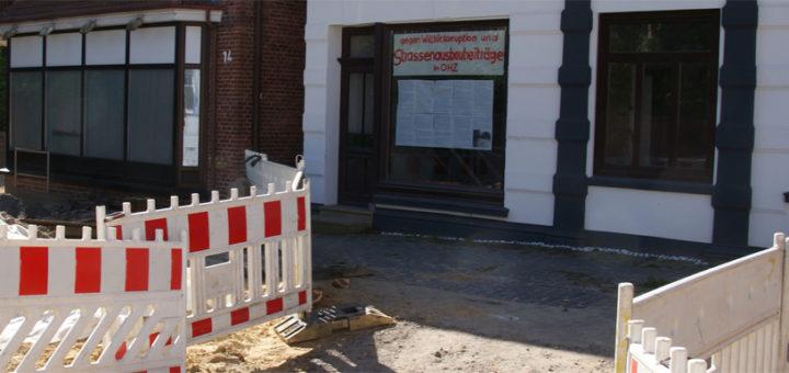 Im Bereich Hohetorstraße wird gerade die Straße neu gebaut, es gibt Anwohner, die gegen die anschließende Kostenbeteiligung der Hausbesitzer protestieren. Foto: Möller