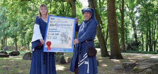 Bettina und Frank Hannemann verwandeln sich am 7. und 8. Juli in Gräfin Adelheid von Tecklenburg und Graf Gerd. Foto: Konczak