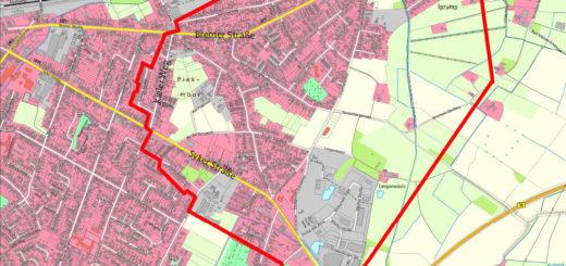 Das Evakuierungsgebiet reicht im Norden bis zur Bahnlinie, im Süden knapp über die Syker Straße hinaus, im Westen knapp über die Kieler Straße hinaus und im Osten bis zum Iprumper Dorfweg. Grafik Stadt Delmenhorst