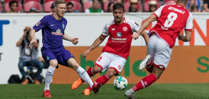 Florian Kainz im Duell mit den Mainzern Donati und Öztunali
