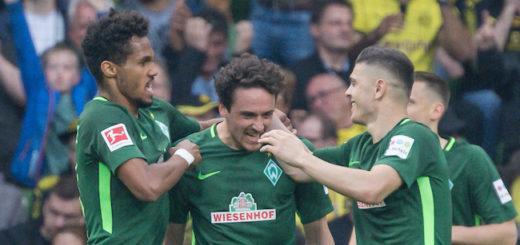 Rettete mit seinem Treffer gegen den BVB Werders Heimserie: Thomas Delaney (Mitte) Foto: Nordphoto