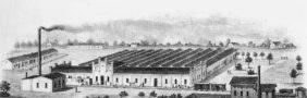 Die Jute-Werksanlagen auf einer um 1880 gefertigten Zeichnung. Foto: Stadtarchiv Delmenhorst