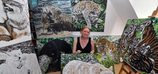 Hjördis Tomalik hat sich auf die Tiermalerei spezialisiert. Sie will die Tiere so naturgetreu wie möglich abbilden. Foto: Konczak