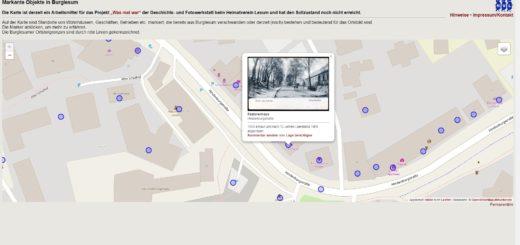 Ausschnitt aus der Online-Karte: Klickt man auf die blauen Punkte erhält Informationen über einstige Gebäude, Betriebe und Wege im Stadtteil, wie das ehemalige Pastorenhaus an der Hindenburgstraße. Laut Karte ist das Gebäude 1969 abgerissen worden. Foto: Heimatverein Lesum
