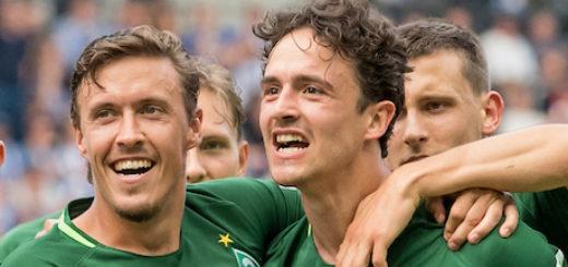 Jubeln möglicherweise bald gemeinsam im Trikot des BVB: Max Kruse (links) und Thomas Delaney Foto: Nordphoto