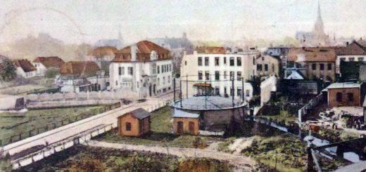 Das Haus Coburg, auf der Postkarte oben links neben der Fischstraße, war die erste Auftragsarbeit Stoffregens in unserer Stadt. Foto: Sammlung Garbas
