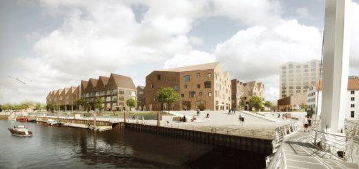 Der Blick von der Seilzugklappbrücke auf das neue Quartier am Vegesacker Museumshafen. Entwurf/Foto: Wirth Architekten BDA Bremen