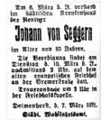 Todesanzeige des städtischen Wohlfahrtsamtes für Johann von Seggern Bildvorlage: Sammlung Garbas